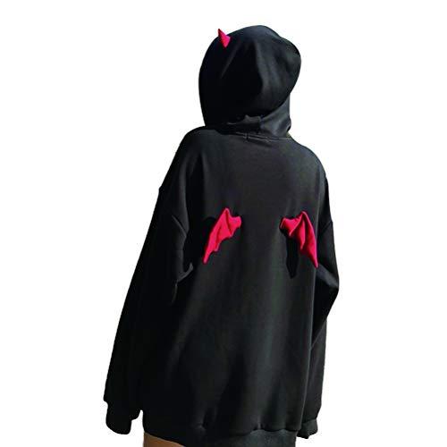 Enfei Frauen Teufel Flügel-mit Kapuze Sweatshirt beiläufige lose Lange Hülsen Kapuzenpulli Pullover-Oberseiten