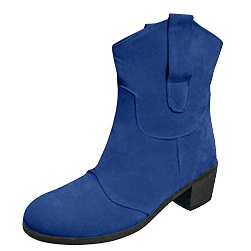 Fomino Botines de mujer para trekking, senderismo, botines de caña corta, para otoño, para trabajar, para la nieve, para mujeres, Chelsea, azul oscuro, 38 EU