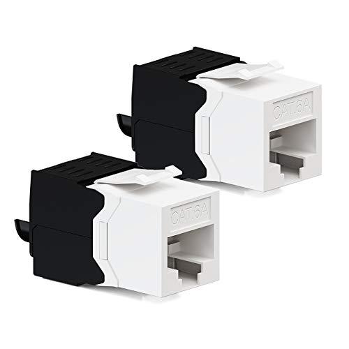 deleyCON 2X CAT6a Jack Keystone Módulo RJ45 - Conector RJ45 para Plástico LSA Montaje a Presión Cable Crudo Cat 500Mhz 10GBit/s