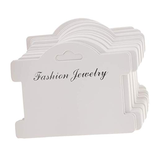 JANOU 100pcs Jewelry Display Cards Showing Tags Pendant Label Kraft Paper Jewelry Display Hanging Cards for Necklaces Bracelets Earring, 3.7x3 Inch