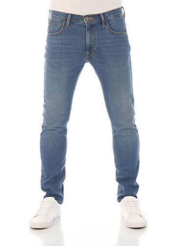 Lee Luke W30 - W38 Jean pour homme, en coton (denim), élastique, coupe ajustée, bleu - Bleu - W34