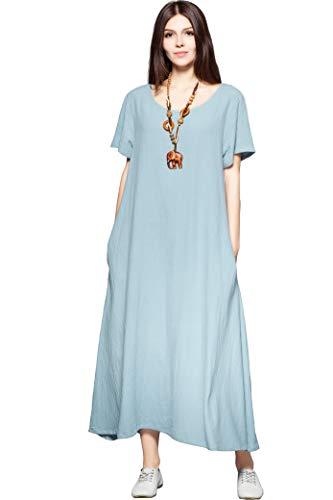 Anysize Side Pockets Linen Cotton Soft Loose Dress Spring Summer Plus Size Clothing F131A,Light Blue,X-Large, Light Blue, X-Large