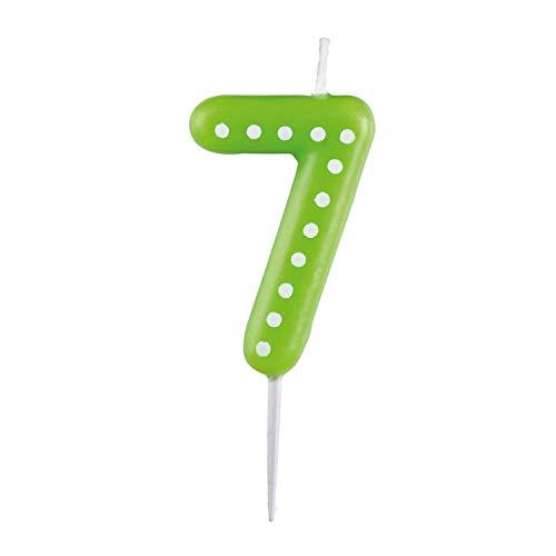 amscan 10023043 9900917 Zahlenkerze 7, mit weißen Punkten, farbig Sortiert, Entweder in Gelb, Blau, Rot, Grün oder Orange