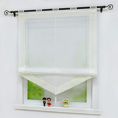 Yujiao Mao Voile Transparenter Raffrollo Raffgardinen Kontrastfarbe mit Schlaufen 1er-Pack, Weiß-Beige, BxH 140x140 cm