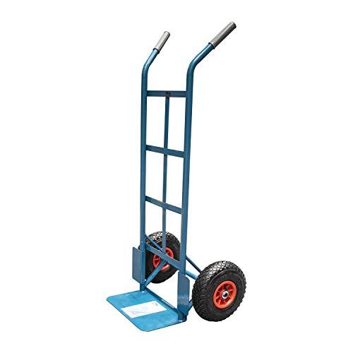 Ferrestock FSKCAR002 Carretilla de almacén profesional fabricada en acero reforzado, soporta hasta 150kg incluye ruedas neumáticas