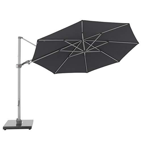 Knirps Sonnenschirm PENDULAR - Runder Premium Ampelschirm - Stilvoll und hochwertig - Starker UV-Schutz - 340 cm - Dunkelgrau