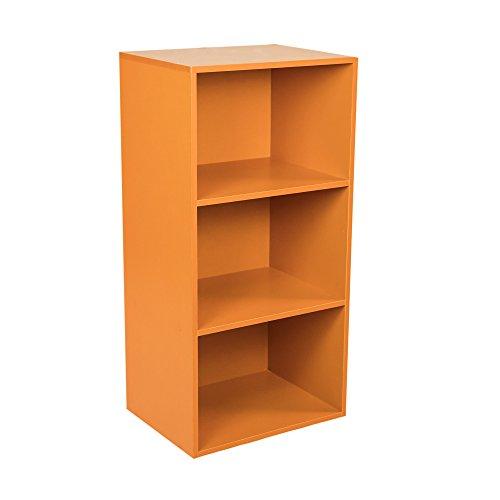 Rigamonti Libreria scaffale 3 Ripiani, per Soggiorno, Camera da Letto, Ufficio Colore Arancione.