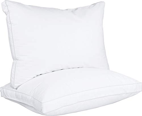 Utopia Bedding Gusseted Pillow (2-Pack) Premium Quality Bed Pillows - Side Back Sleepers - White Gusset - Queen - 18 x 26 Inches