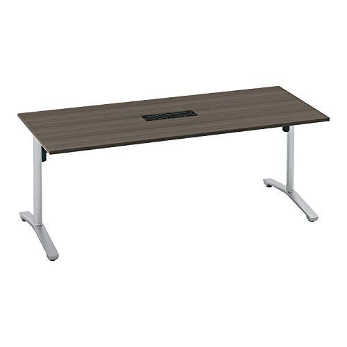 コクヨ ミーティングテーブル ビエナ 天板固定 角形 T字脚 塗装脚 配線ボックス付き 幅180×奥行75cm キャスター仕様 アッシュブラウン/フラットシルバー
