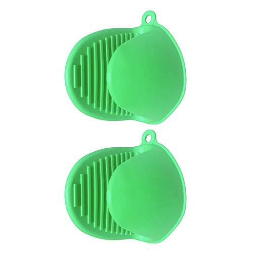 Baoblaze Cocina Guantes de Silicona Horno Microondas Olla BBQ Manopla para Hornear Clip de Mano 2 Piezas - Verde, Individual