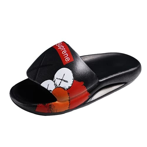 Chanclas Y Sandalias Piscina Zapatillas Beach Flip Flops Pool Slides Zapatos Casual Calzado Deportivo Aire Libre Vestir Slippers Hombre Pintado EVA Ligereza Fondo Grueso Antideslizante (43,Negro)