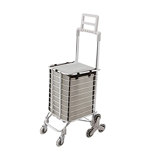 WANGYIYI Carritos de Compras multifuncionales Carretilla de Mano Plegable para el hogar Carro de Compras de Gran Capacidad 35L de aleación de Aluminio para Compras de comestibles (Color : Gray)