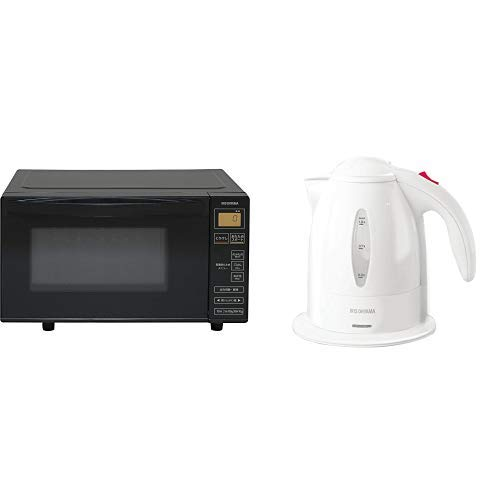 【セット買い】アイリスオーヤマ 電子レンジ 18L フラットテーブル ヘルツフリー 全国対応 ブラック IMB-FV1801 & 電気ケトル ホワイト IKE-1001-W セット
