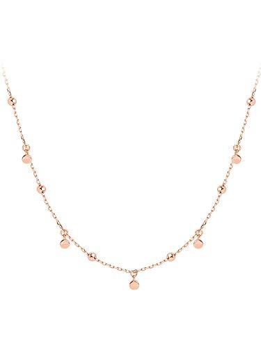 weichuang Gargantilla redonda geométrica auténtica de plata de ley 925 para mujer, joyería fina minimalista, accesorios bonitos collares de regalo para mujer (color de gema: oro rosa, longitud: 40 cm)