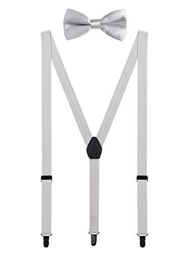 WANYING Herren Hosenträger Fliege Set - 3 Schwarz Clips Y Form 2,5cm Hochelastisch Hosenträger für Herren 150-200cm - Hellgrau