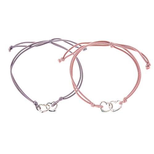 Juego de 2 pulseras con corazón para mujer, con prueba de amor y amistad, fabricado por Nami, regalo para ella, corazones entrelazados