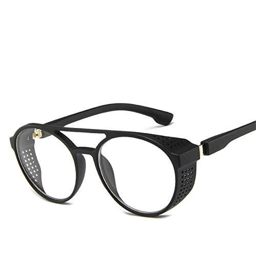 SHANGYUN Gafas de Sol Steampunk Redondas Vintage para Hombre, Gafas clásicas para Conducir, Gafas de Sol UV400 Transparentes