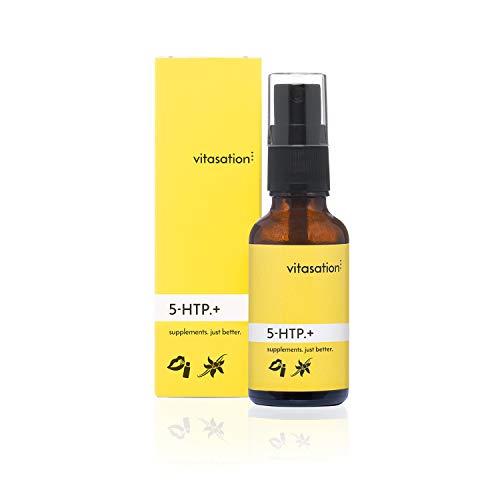 5-HTP.+ Mund-Spray mit 5-HTP (Griffonia Simplicifolia) + Zitronenmelisse + Passionsblume für 30 Tage I Vegan mit natürlichen Inhaltsstoffen & Vanille-Geschmack I Vorstufe von Serotonin & Melatonin