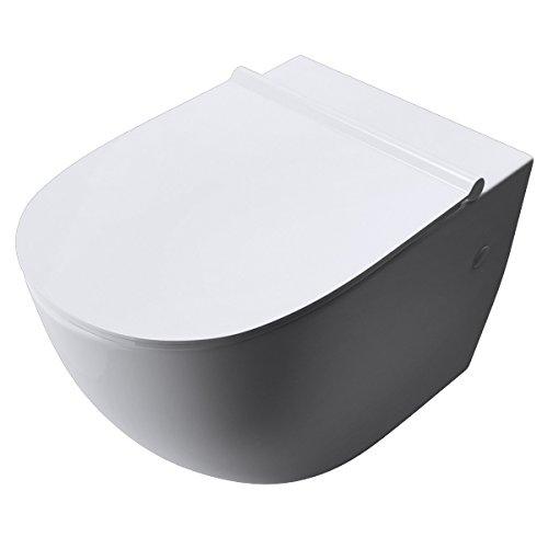 doporro 35,5x56x40cm Toilette Aachen502 Keramik Silent-Close-Absenkautomatik Toilettendeckel Wand-WC Hänge-WC