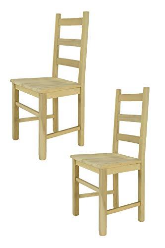 Tommychairs - 2er Set Stühle Rustica für Küche und Esszimmer, robuste Struktur aus poliertem Buchenholz, unbehandelt und 100{87dc439ecc2e806daf35c5510f9f11dbff90ede16283a3dfd85b0b0fc52f1969} natürlich, Sitzfläche aus poliertem Holz