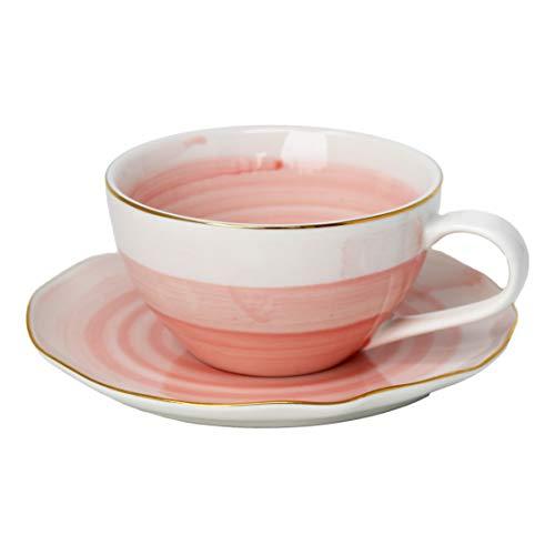 LA VITA VIVA 4er Set Exklusive Designer Kaffee- und Teetassen mit Untertasse Pastell Bonbonfarbe Pink mit Goldrand Hochwertige Keramik