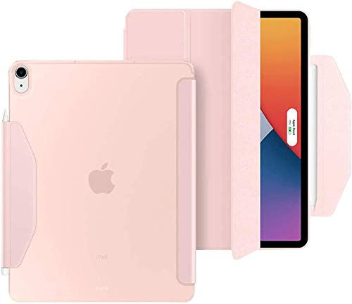 FANG Case for New IPad Air 10.9 2020 (4th Generation), Smart Slim Lightweight Translucent Frosted Back Protective Cover Shell, Support IPad Pencil Charging, Auto Wake/Sleep,Pink
