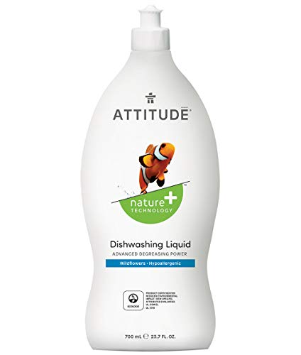 ATTITUDE Dish Detergent, Plant-Based, Hypoallergenic, Eco-Friendly, 33.8-Fl.Oz.