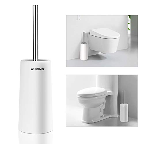 PIXNOR Toilet Brush and Holder for Bathroom Toilet (White)