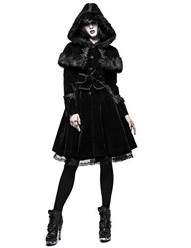 Punk Rave Winter Schal Gothic Lolita Kunstpelz Langen Mantel für Damen Schwarz XS