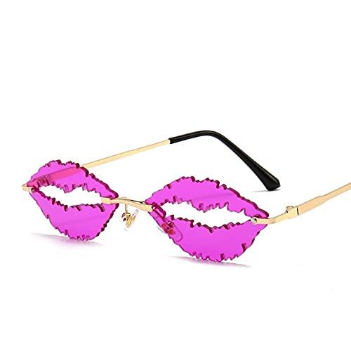 Gafas de Sol sin Montura para Mujeres y Hombres, Gafas de Lujo con Forma de Labios, Gafas de Sol Steampunk a la Moda, Gafas de conducción UV400