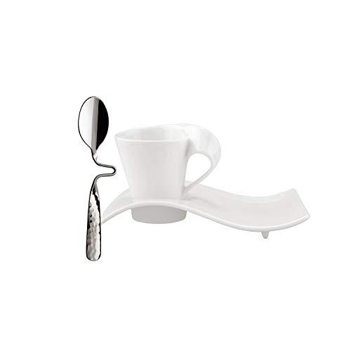 Villeroy und Boch - NewWave Caffè Espresso-Set, 3 tlg., eleganter Kaffeegenuss, Premium Porzellan/Edelstahl, spülmaschinengeeignet