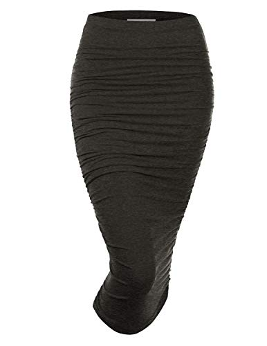 Doublju Womens Slim Fit Ruched Long Pencil Skirt with Plus Size Charcoal 1X