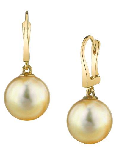 Mar del sur de oro pendientes de perlas cultivadas clásicas en 14 K oro