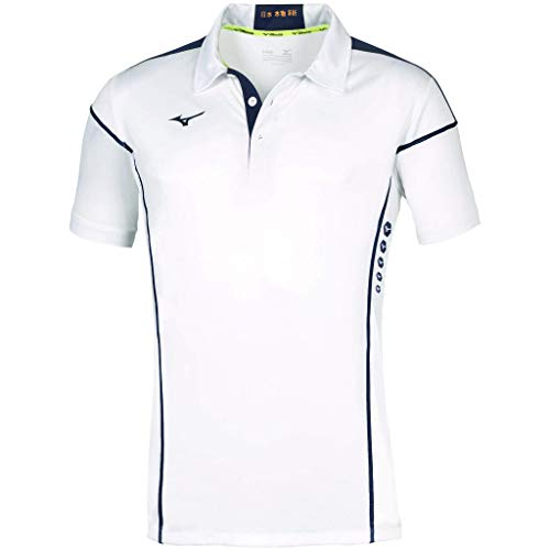 Mizuno Hex Rect Poloshirt für Herren, Herren, Polo, 62EA7001, Weiß/Marineblau, XXXL