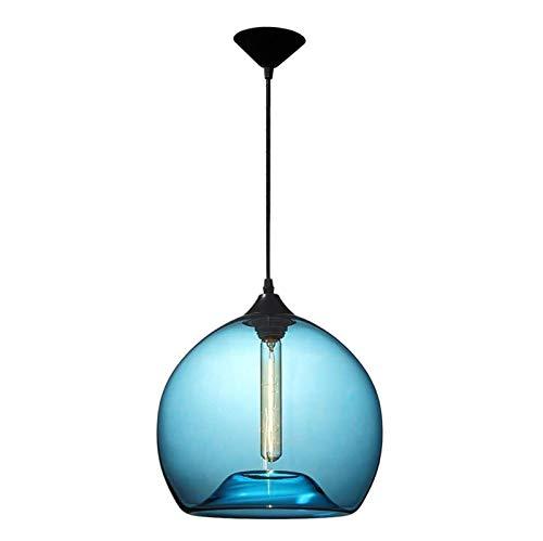 LIUJIE Modeen Iluminación de luz de Techo Moderna de una Sola Cabeza Lámpara Colgante de Pantalla de Bola de Cristal Azul Burbuja soplada a Mano Iluminación Colgante para Comedor