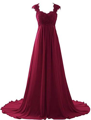 Erosebridal New Sleeveless Lace Chiffon Wedding Dress Bridal Gown Burgundy 24