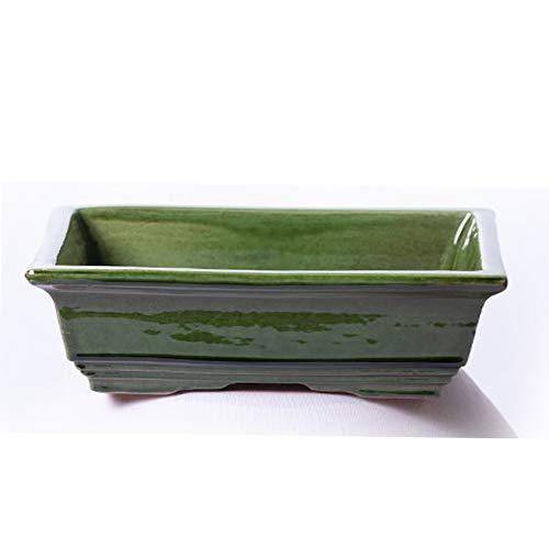 Maceta para Bonsai DE Barro Y ESMALTADA EN Color Verde. Medidas 18X14X6 CM.Modelo HIROSIMA. con TU Compra TE REGALAMOS EL Plato.
