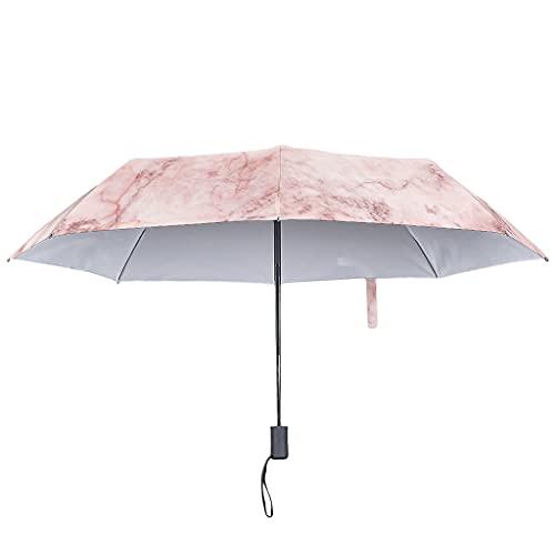 Paraguas plegable con textura de mármol, cierre automático, tono fresco, resistente al viento y al agua, con sombrilla