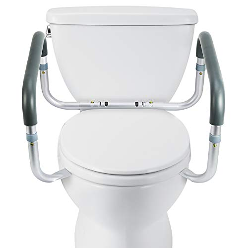 OasisSpace Medical Toilet Safety Frame - Adjustable Compact Support Hand Rails for Bathroom Toilet Seat - Easy Installation for Handicap Senior Bariatrics & Elderly