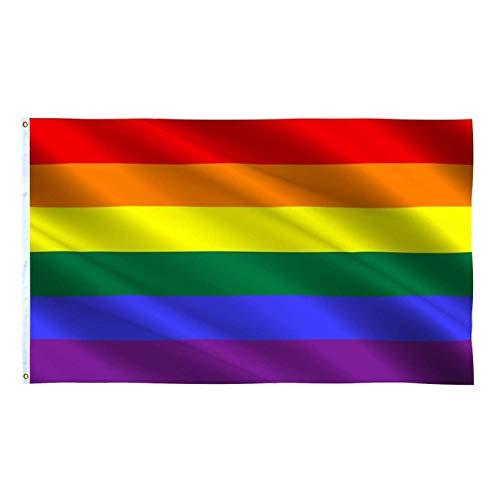 JZK 90 cm x 150 cm Regenbogen Flagge groß Gay Pride Flagge Fahne für Wand, Regenbogenfahne homosexuell Stolz Flagge Flag für draußen, Karneval, groß LGBTQ Flagge LGBT, Gay Pride Festival Accessoire