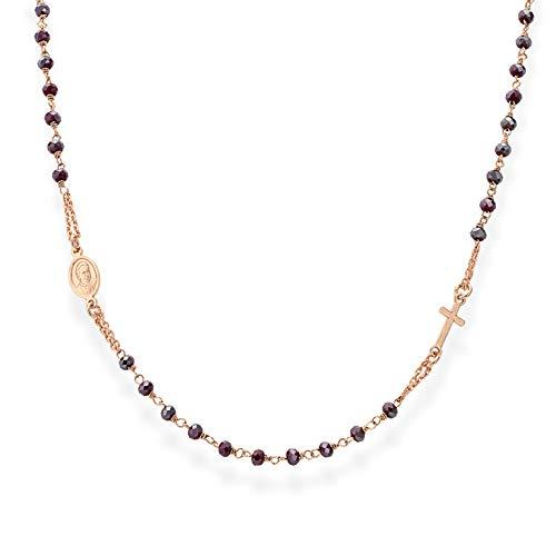 Amen Collana In Argento 925 Collezione Rosari - Colore Rosè - Misura Unica
