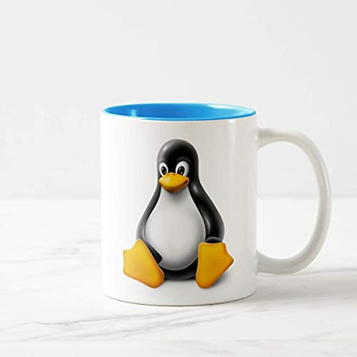 N\A Linux Tux The Penguin Taza Azul Claro Los Mejores Regalos Divertidos Tazas de café navideñas para café, té, Taza de Cacao