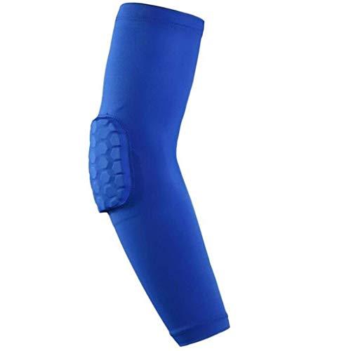 Chunjiao Cubierta del Brazo, 2 anticolisión, Deportes Equipo de protección, los Deportes de Baloncesto de Nido de Abeja for apoyar el Codo anticolisión Protector de Brazo (Color : Blue, Size : XL)