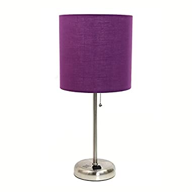 Limelights LT2024-PRP Brushed Steel Lamp with Charging Outlet and Fabric Shade, Purple