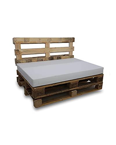 Asiento de Espuma para Sofá Palet - Microfibra Color Blanco - Densidad es D25 Media-semidura - (Dimensiones 120x80x10 cms) - Ideales para Interior y Exterior, Chill out, terrazas, Piscinas.
