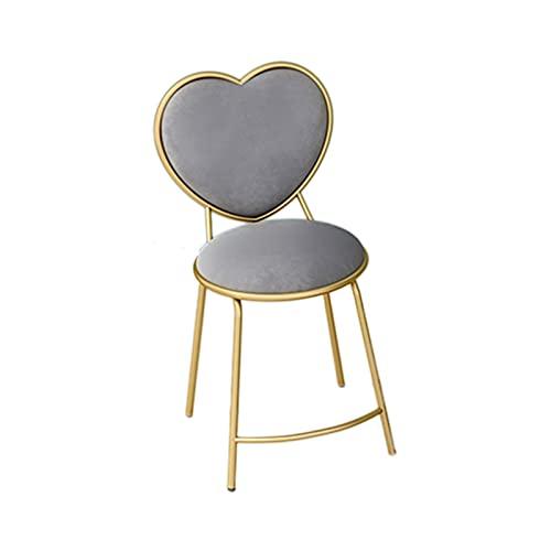 GXJ-stool Silla de comedor en forma de corazón de franela, asiento de mesa auxiliar doméstico, marco de metal de hierro, tanto doméstico como comercial (45 cm de altura) (tamaño: 45 cm, color: E)