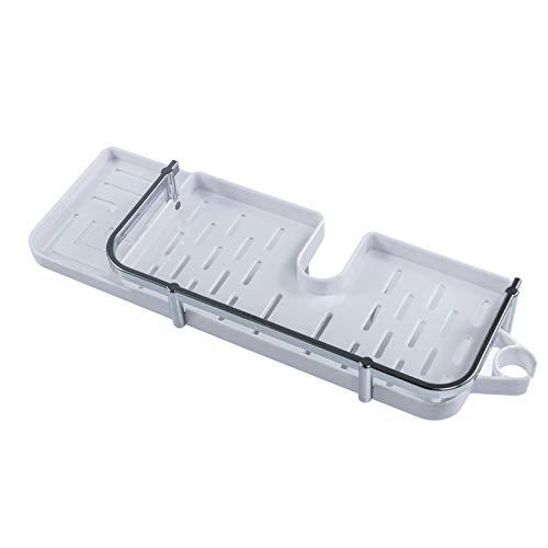 ZUQ - Estante de ducha de plástico sin taladrar, soporte de almacenamiento de postes, organizador de ducha, con 2 ganchos y soporte para alcachofa de ducha de mano (blanco)