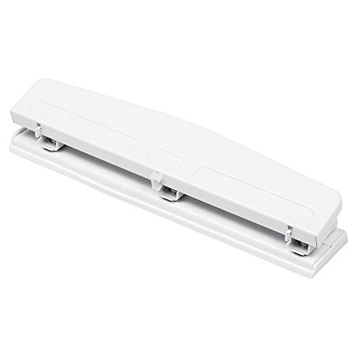 JAM PAPER Metal 3 Hole Punch - White - 10 Sheet Capacity - Hole Puncher Sold Individually