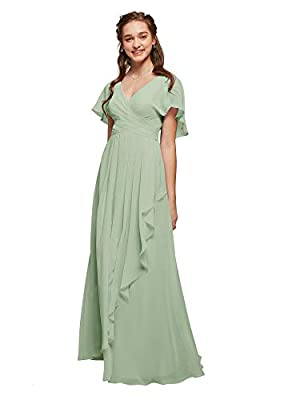 ALICEPUB Chiffon Bridesmaid Dresses Sage Green Plus Size Long Formal Evening Prom Dress with Flutter Sleeve, US18