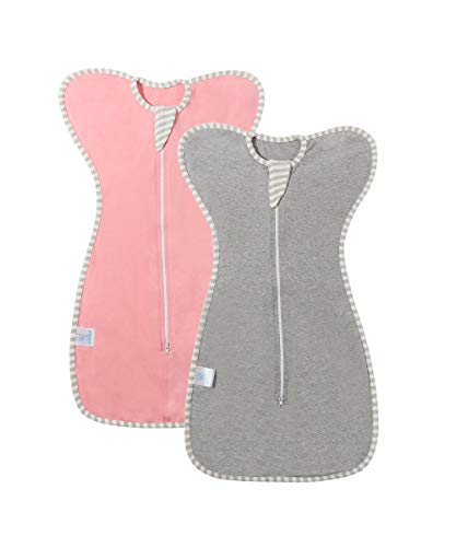 Bycc Bynn 2 Pack Swaddle Sack with Arms Up Design Gently Help Baby Self-Soothing, Transitions to Arms-Free Wearable Sleeping Bag, Snug Fit Calms Startle Reflex (Pink + Gray, S (0-3 Month) 2 Pack)